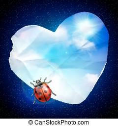 Denim background with heart
