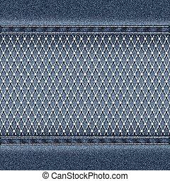 Denim background with openwork mesh Vector illustration.