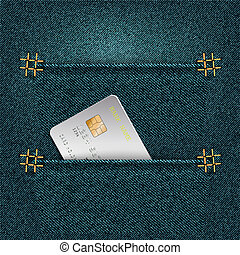 Denim background with two pockets and credit card. Vector ...