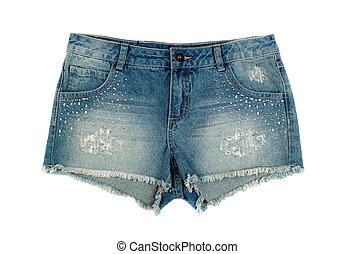 denim, bambini, shorts.