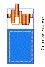 Denim cigarette pack - Illustration of the abstract denim...