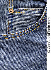 Closeup of the pocket and coin pocket on a pair of blue denim jeans