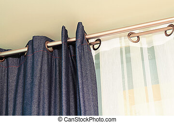 denim, cortinas, branca