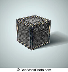 Denim cube on a white background. Vector eps10
