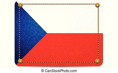 Denim Czech Republic flag on a white background.