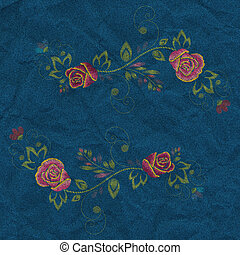 Denim Embroidery Rose