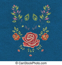 Denim Embroidery Rose