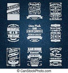denim, etichette, jeans, bianco, tipografia