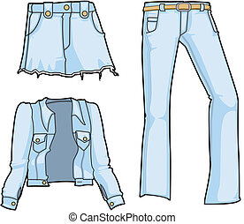 Denim jacket, skirt, and jeans in summery pale blue