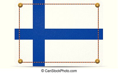 Denim Finland flag on a white background.