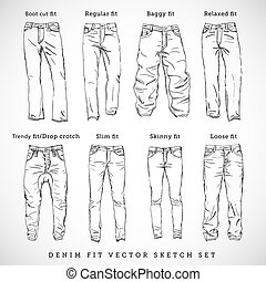 Denim Fit Hand Drawn Vector Sketch Set Isolated