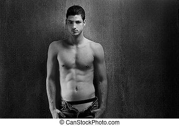 denim, giovane, nero, sexy, bianco, shirtless, uomo