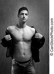 denim, giovane, sexy, bello, shirtless, uomo