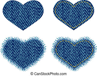 Denim heart patch. Vector illustration.