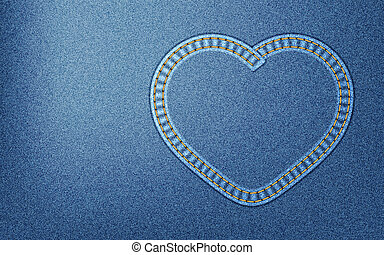 Denim heart - Realistic denim background with heart-shaped...