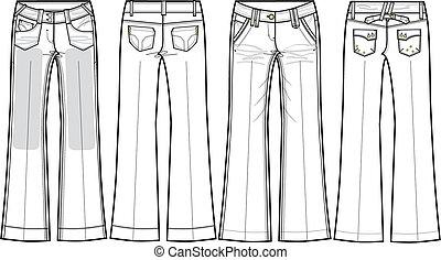 denim jeans, bootcut