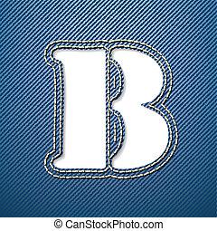 Denim jeans letter B - vector illustration
