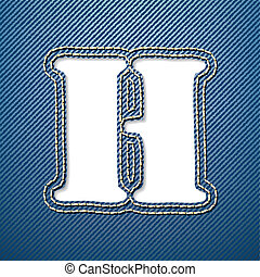 Denim jeans letter H - vector illustration