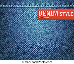 Denim, blue jeans texture with label. Vector illustration.