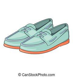 Denim loafers icon, cartoon style