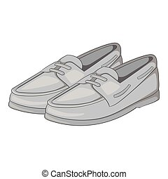 Denim loafers icon, gray monochrome style