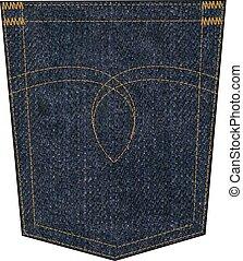 denim pocket - denim back pocket with embroidery seam