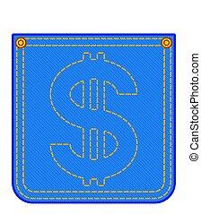 Denim pocket with dollar symbol - Illustration of the denim...