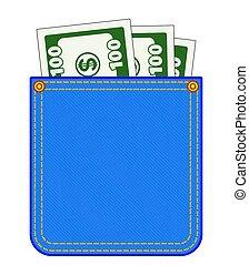 Denim pocket with money - Illustration of the denim pocket...
