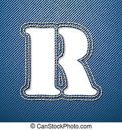 denim, r, jeans, lettera