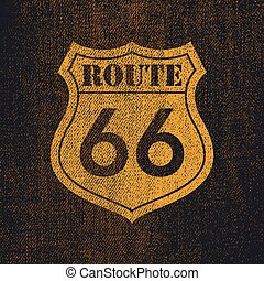 Route 66 - Vintage roadsign illustration
