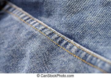 Denim Seam - Closeup of a seam on denim blue jeans