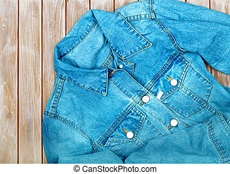 denim shirt on a wooden background