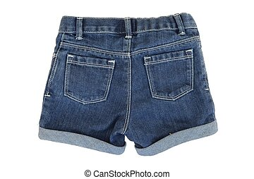 A close up shot of denim shorts