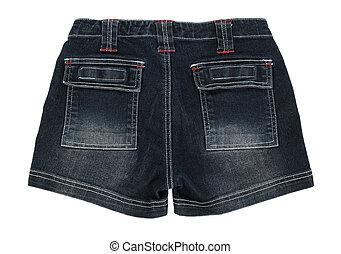 Denim shorts on white background - Stylish blue denim shorts...