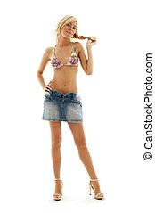 denim skirt #3 - Pretty blond in denim skirt