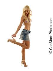 denim skirt - pretty blonde in denim skirt