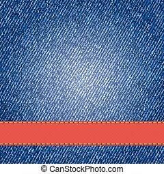 denim, textura, com, etiqueta, ribbon., vetorial