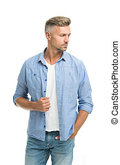 Denim trend. Feeling casual and comfortable. Menswear and fashionable clothing. Man looks handsome in casual shirt. Guy with bristle wear casual outfit. Fashion concept. Man model clothes shop