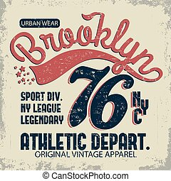 Denim typography, New York t-shirt graphics, vintage wear tee print design
