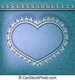 Denim Valentines day background. Embroidered Jeans heart....