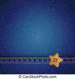 denim vector background - denim and star sewing button,...