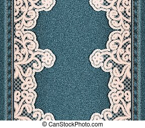Denim vertical background with sewn floral lace fabric. ...
