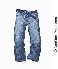 denim, vetorial, calças brim, ilustração