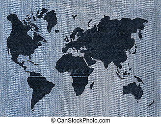 Denim - World map made of denim