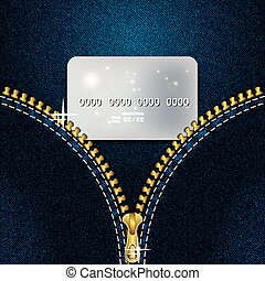 Denim background with a gold zipper and a credit card. Vector illustration