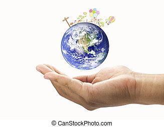 denkbeeldig, wereld, in, jouw, hand