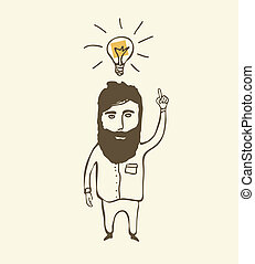 denken, bärtiger mann, zwiebel, licht