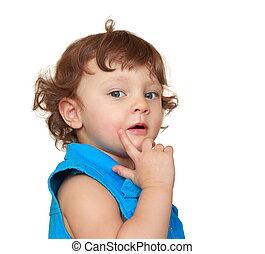 denken, baby meisje, met, vinger, op, gezicht, looking., closeup, verticaal, vrijstaand, op wit, achtergrond
