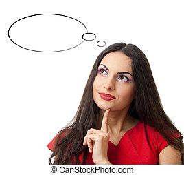 denken, betrokken, of, vrouwen