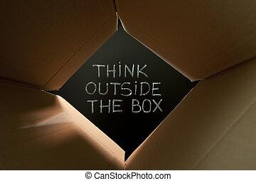 denken, buiten, de doos, op, bord